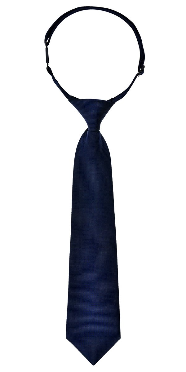 Retreez Solid Plain Color with Square Textured Woven Microfiber Pre-tied Boy's Tie - Navy Blue - 4-7 years