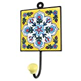 IndianShelf Handmade Ceramic Yellow Floral Tile Wall Hooks/Holder/Hanger 1 Piece (HK-1541)