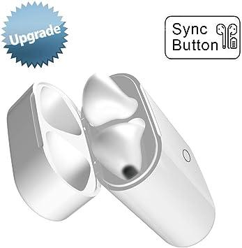 Estuche de Carga Inalámbrica con Botón de Sincronización Compatible con AirPods 1 y 2 Reemplazo con Emparejamiento Bluetooth (Air Pods no Incluidas), Cubierta Protectora para Auriculares (Blanco): Amazon.es: Electrónica
