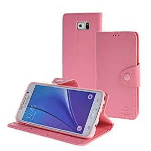 MEIRISHUN Caja del Teléfono Celular Caso Funda Galaxy Note 5 Case Protector PU Cuero Tapa abierta Stand Wallet Case With Veiled Button para Samsung Galaxy Note 5 [Rosa]