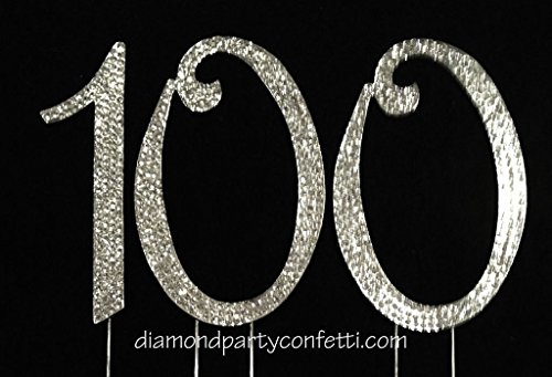 Rhinestone Crystal Covered 100th Birthday Party Anniversary Number Cake Topper -