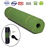 ATHOON [TIMELY Deal] Non Slip Yoga Mat with Bag 2018 New Eco Friendly Exercise Mat – Longer and Wider for Men & Women, Green Review
