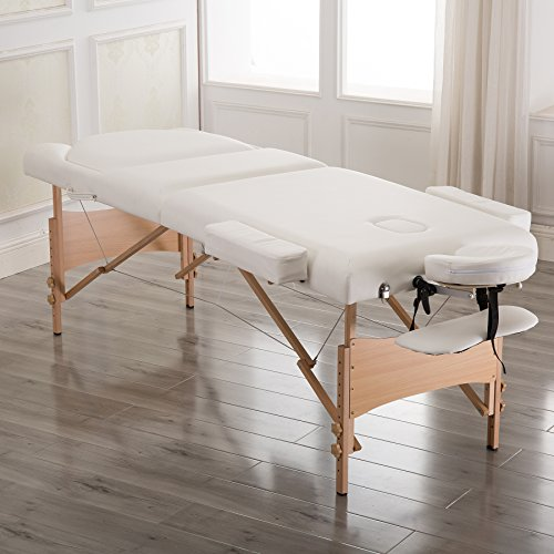 Massage Table Spa, 3 Section Adjustable Portable Massage Table with Carrying Bag and Additional Accessories, White