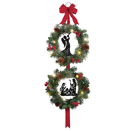 Collections Etc Nativity Double Christmas Wreath Decoration