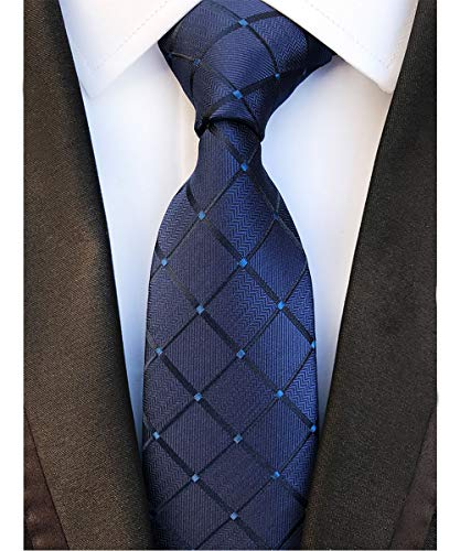 Men's Classic Navy Blue Plaid Tie Check Striped Silk Woven Jacquard Necktie + Gift Box ()