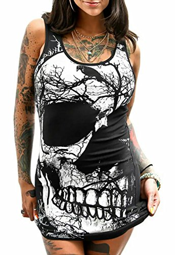 Dellytop Women's Sleeveless Skull Printed Mini Package Hip Dress Plus (Short Black Dress Plus Size Women)