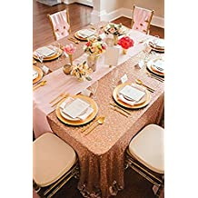"""B-COOL 60""""X102"""" rectangle Rose Gold Sequin Tablecloth Sparkly Tablecloth for Halloween/Thanksgiving Day/Wedding/Party/Curtain/Birthday/Christmas/New Year and Other Event Decor"""