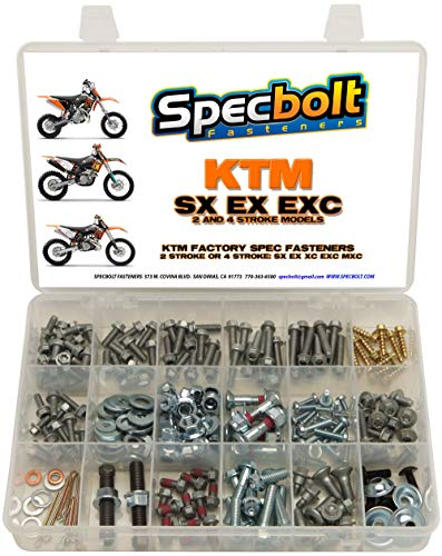 250pc Specbolt Brand Bolt Kit for Maintenance Upkeep of KTM SX EX EXC MX Dirtbike OEM Spec Fastener. This Includes 2 Strokes: 50 60 65 85 105 125 250 300 550 4 Strokes: 250 350 400 450 500 520 525