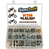 250pc Specbolt KTM SX EX EXC 2 or 4 Stroke models Bolt Kit for Maintenance & Restoration of MX Dirtbike OEM Spec Fastener. This includes 2 STROKES: 50 60 65 85 105 125 250 300 360 380 550 AND 4 STROKES: 250 350 400 450 500 520 525 530 620 640