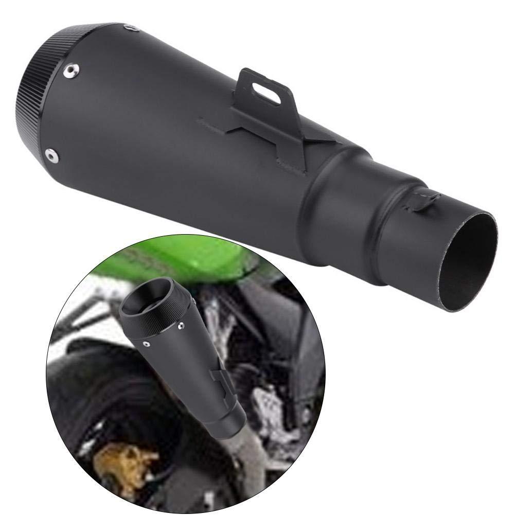 Qiilu 38-51mm Universal Motorcycle Dirt Bike Modified Slip-on Exhaust Muffler Pipe W//Adapter Black