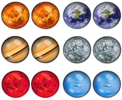 LilMents 6 Pairs Solar System Galaxy Universe Unisex Mens Womens Stainless Steel Stud Earrings (Set A) -