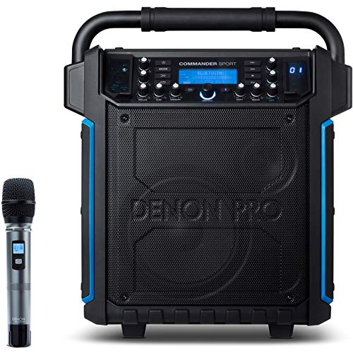 Denon Professional Portable Bluetooth Speaker, Water Resistant with Wireless Microphone, 120W (COMMANDERSPORTXUS)