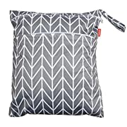 Damero Travel Wet and Dry Bag with Handle for Cloth Diaper, Pumping Parts, Clothes, Swimsuit and More, Easy to Grab and Go (Medium, Gray Arrows)