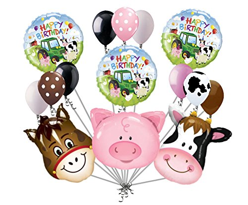 15 pc Farm Animal Heads Balloon Bouquet Happy Birthday Party Decoration Cow Pig (Horse Farm White)