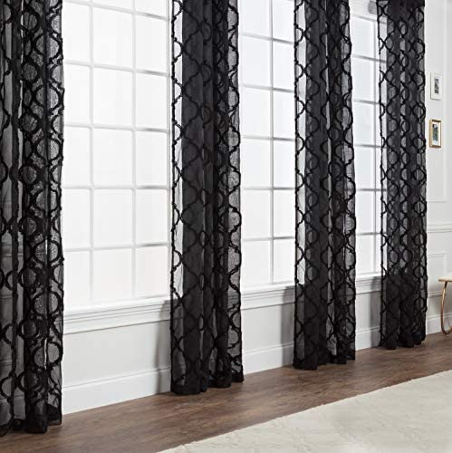 Chanasya 2-Panel Moroccan Embroidered Grommet Textured Sheer Curtain Panels - the best window curtain panel for the money