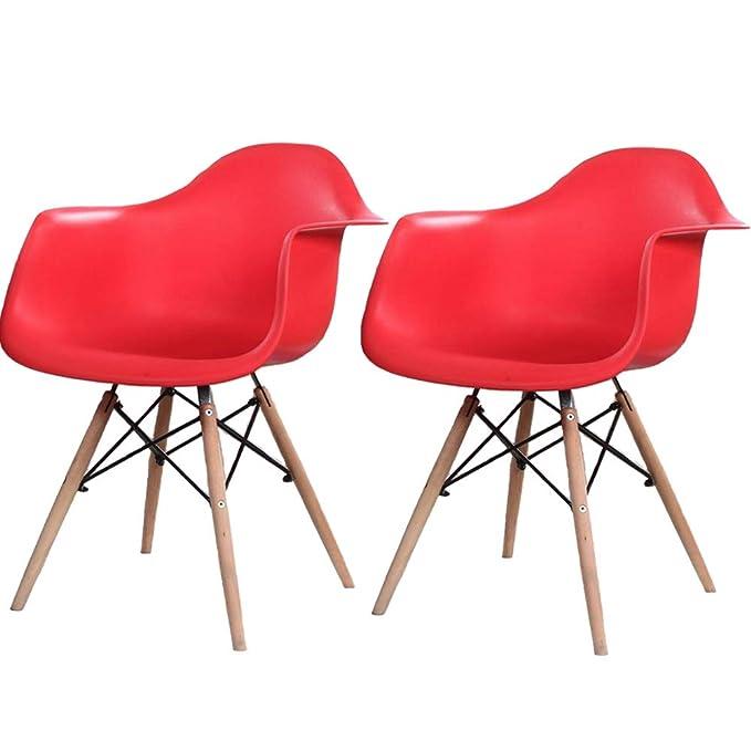 Amazon.com: Moderno juego de 2 sillones Eames de madera ...