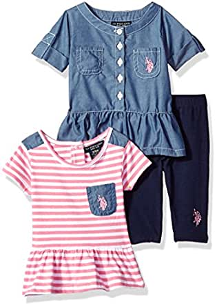 U.S. Polo Assn. Baby Girl's Knit Top, Fashion Top and Legging Set Pants, Chambray Button Up Striped Peplum Tee Aurora Pink, 3-6 Months