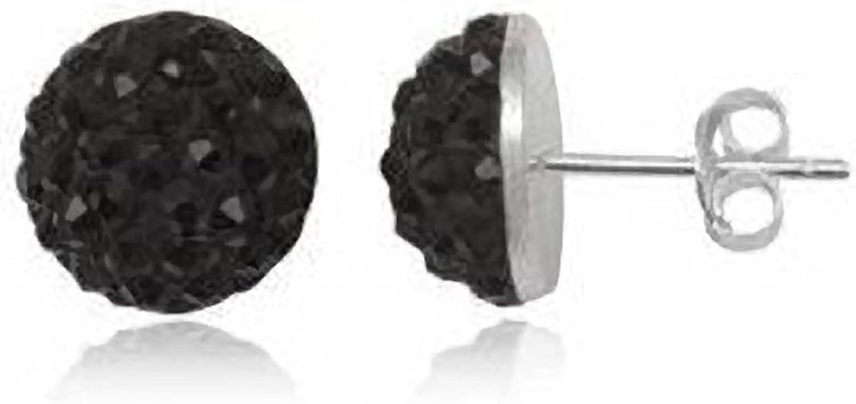 6mm Bling Negro Mitad De Bola de discoteca Shamballa pendientes de estilo de tuerca de plata de ley–pendientes de cristal austriaco de estilo Swarovksi