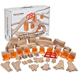 110 PCs Orbrium Toys Multi-Level Wooden Train Track Expansion Pack with Stackable Track Riser Stabilizers Generic Fits Thomas Brio Chuggington Set