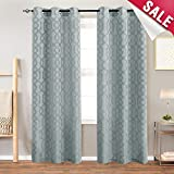 Jacquard Curtains for Living Room Trellis Geometric Pattern White Semi Sheer Window Curtains for Bedroom Privacy Opaque Window Treatment Set, Grommet Top, 2 Panels, 95″ Long, Neutral Gray For Sale