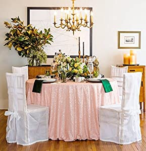 108u0027u0027 Round Peach Sequin Tablecloth, Select Your Size, Sequin Wedding  Tablecloth,sequin Cake Tablecloth,sequin Sweetheart Tablecloth,sparkly  Tablecloth,