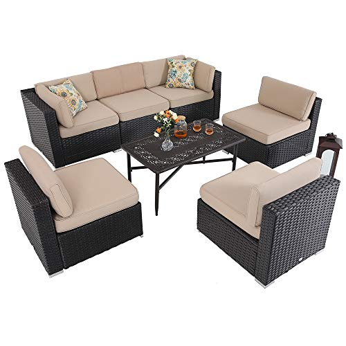 7 Piece Outdoor Furniture Rattan Wicker Patio Sectional Sofa Cast Aluminum Table with Frosted Surface, Beige