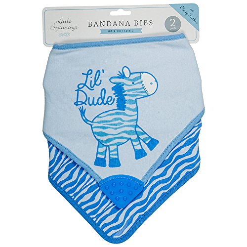 Little Beginnings Boys 2 Piece Bandana Bibs, Lil Dude Blue