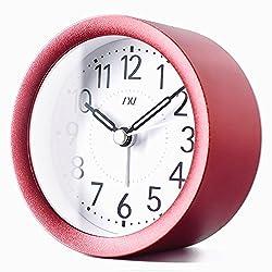 TXL Digital Metal Alarm Clock for Kids' Room Silent Snooze Travel Table Clock with Backlight, Quiet Sweep Luminous Hands, Desk & Shelf Clock for Bedrooms Office Kitchen, Red
