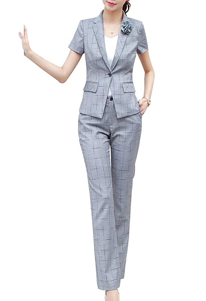 Grey LISUEYNE Women's Casual Two Pieces Blazer Suit One Button Office Blazer Jacket&Pant Skirt Suit