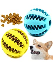 Youngever 2 Pack Dog Ball Toys for Pet Tooth Cleaning, Chewing, Fetching, IQ Treat Ball Food Dispensing Toys