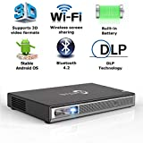 Mini Projector Portable 3D DLP-Link Smart Video for iOS/Android Wireless Screen Sharing Support 4K 250 Ansi Lumens Android 6.0.1 Powerful Speakers Dual WiFi Bluetooth HDMI Keystone Correction