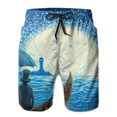 Moonship Magician Men's Beach Pants Swim Trunks Dry Fit Boardshorts with Lining