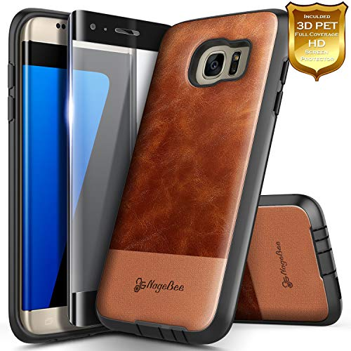 Galaxy S7 Edge Case with Screen Protector (Full Coverage 3D PET), NageBee Premium [Cowhide Leather] Heavy Duty Shockproof Dual Layer Hybrid Defender Rugged Case for Samsung Galaxy S7 Edge -Brown