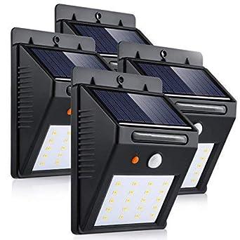 LEDMO Luces Solares 20 LEDs, blanco cálido 3000K PIR Sensor de movimiento y sensor ligero impermeable ...