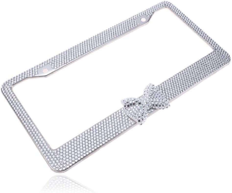 Black 2 Pack Glass Diamond Car License Plate Frame Luxury Handcrafted Bling Rhinestone Premium Stainless Steel License Plate Frame with Finest 14 Facets SS20 Clear Color Rhinestone Crystal