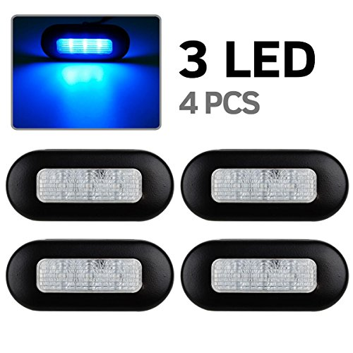 4x RV Marine Boat Trailer Led Blue Oblong Courtesy Light 3