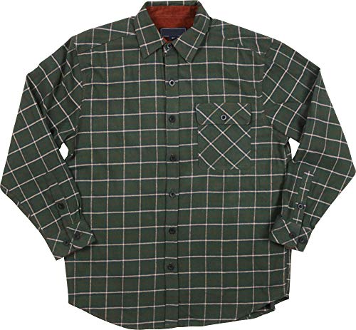 (Woodland Supply Co. Men's Cotton Flannel Check Plaid Corduroy Long Sleeve Button-Down Shirt (Large, Teal))