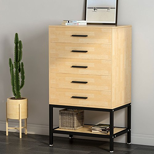 5-Drawer Dresser, LITTLE TREE Tall Chest with Open Storage, Works as File Cabinet & Collection Suitable for Bedroom or Office, 23.6 x 15.7x 41'' (LxWxH), Oak (Black Drawers Chest Of Narrow)