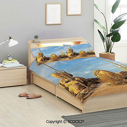 SCOCICI Cactus Decor Bedding Sets 3 Pieces(1 Duvet Cover 2 Pillow Shams) Desert Scenery Saguaros and Boulders Catching Days Last Sunbeams Decorative Duvet Cover Sets for Kids/Twin/Single All ()