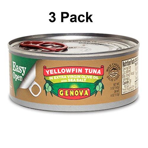 Genova Yellowfin Tuna in Extra Virgin Olive Oil with Sea Salt, 5 Ounce (Pack of 3) (Tuna Genova)