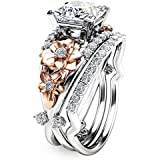 elegantshop Flower 925 Sterling Silver & Rose Gold Filled White Sapphire Wedding Ring Set (7)