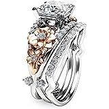 elegantshop Flower 925 Sterling Silver & Rose Gold Filled White Sapphire Wedding Ring Set (7)