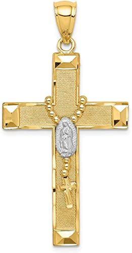 14k Yellow with White Rhodium Two-tone Gold Cross w//Rosary Pendant