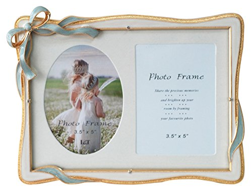 L&T Elegance Metal Picture Frame Gold Plated with Cream White Enamel and Crystals, Blue Bow Ornament, for 5 by 7 inch photos