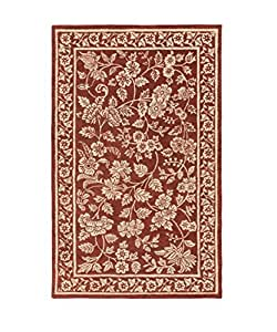 5' x 8' Victorian Delight Lipstick Red and Cream Hand Tufted Wool Area Throw Rug