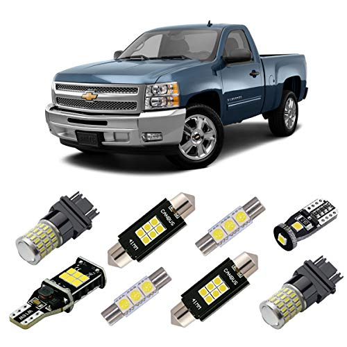 iBrightstar 2007-2013 Silverado Super Bright Canbus LED Bulbs Package Kit replacement for Interior Lights + License Plate Lights + Cargo Lights + Back Up Reverse Lights, Xenon White ()
