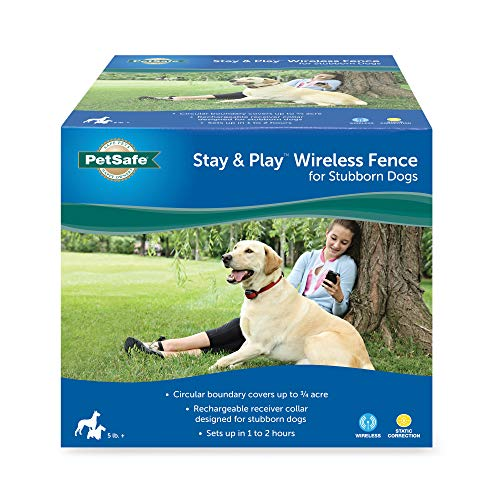 PetSafe Stay & Play Wireless Fence for Stubborn Dogs, 3/4 Acre of Circular Coverage, For Dogs 5 lb. and Up, Tone and Static Correction, Waterproof and Rechargeable Collar