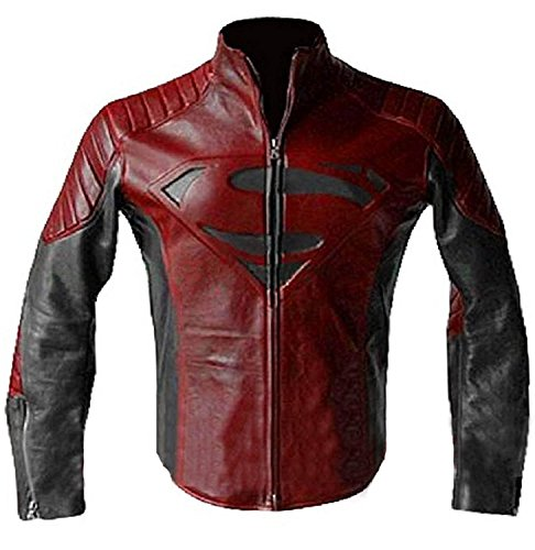 Tom Welling S Logo Red & Black Superhero Quilted Biker Leather Jacket (Superhero Jacket)