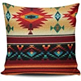 KEIBIKE Personalized Southwestern Style European Square Decorative Pillowcases Colorful Print Zippered Throw Pillow Covers Cases 16x16 Inches One Sided
