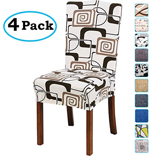 Dining Bar Room Height (misaya Stretch Spandex Dining Room Chair Cover Removable Washable Chair Protector Flowers Painting Stool Seat Slipcover Set of 4, Geometry)
